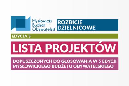 Lista projektów dopuszczonych do głosowania w piątej edycji Mysłowickiego Budżetu Obywatelskiego