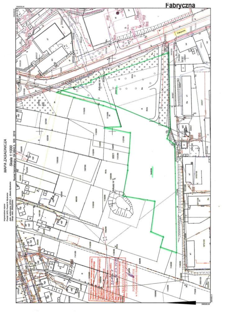 Informacja o terenie niezabudowanym o pow. 1,6938 ha, przeznaczonym do zbycia na cele usługowo – produkcyjne ul. Fabryczna